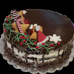 Шоколадова торта с коледна украса