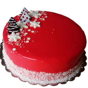Малинова торта с коледна декорация